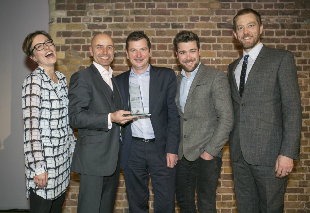 Purplebricks team, including Michael Bruce) collect the Startups Awards Tech Business of the Year award. Photo by David McHugh